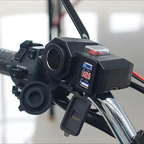 Cargador dual USB para moticicletas mechero impermeable alta velocidad CC 12 V toma corriente para manillar de moto