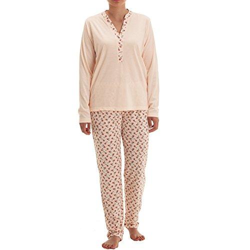 Zeitlos Pyjama Set Nora langarm mit Knopfleiste und Blütendruck am Kragen und Hose Schlafanzug V-Ausschnitt Hausanzug (XL, Apricot)