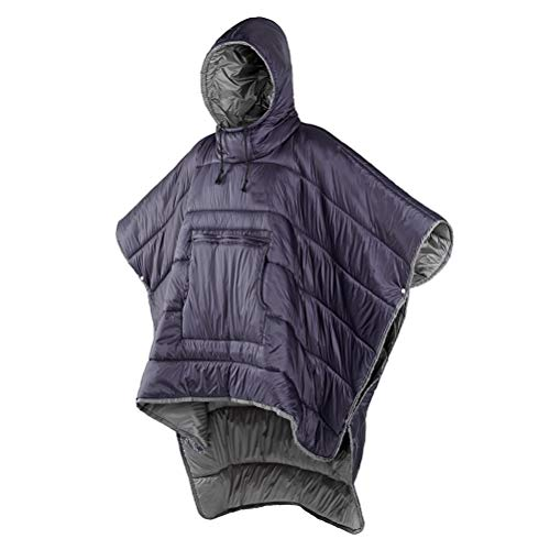 FTW Portable Water-resistant Camping Sleeping Bag Cloak Style Lazy Sleeping Bag Winter Poncho Outdoor Men Women Wearable Warm (Color : Purple)