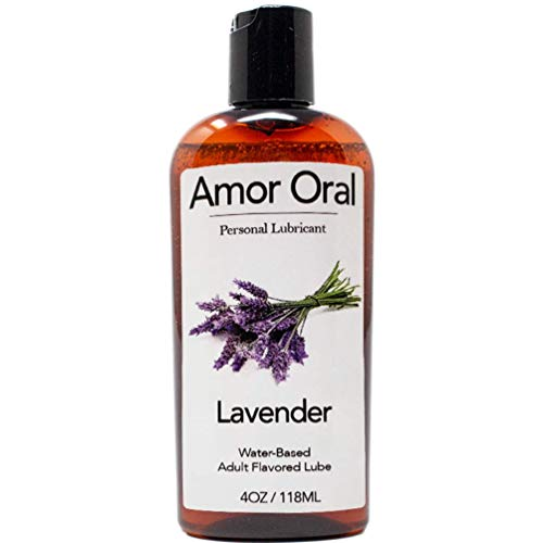 Amor Oral Lavender Flavored Lube, Edible and Body Safe, Water-Based Personal Lubricant 4 Ounce Lavender