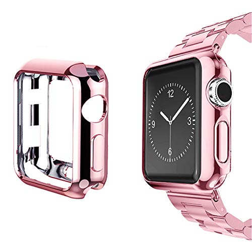 La Realeza Apple Watch case Screen Protector, iWatch TPU All-Around Full Front Protective Case 0.3mm HD Clear Cover for Apple Watch Series 3, Series 2, Series 1 (Rose-Gold, 38mm)