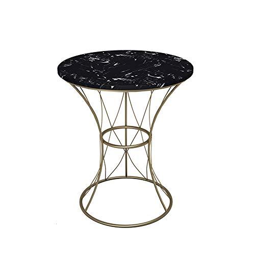 Folding table NAN Nordic-Art-Eisen-Rahmen Beistelltisch 50x60cm, Black Marble SofaSide Tabellen, Heim- Multifunktionstisch, 2 Farben (Color : Gold)