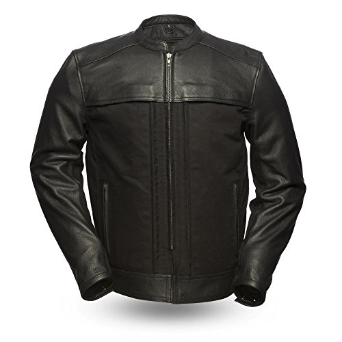 First Mfg Co Premium Men's Leather Jacket (Black, X-Large)