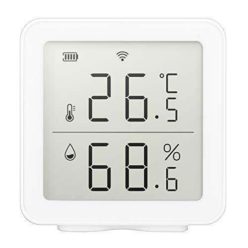 Pilvnar WiFi Sensor de Temperatura inalámbrico para el hogar Inteligente Sistema de Escena de automatización del hogar Compatible con Alexa con Almacenamiento de Datos y Funciones de Alarma
