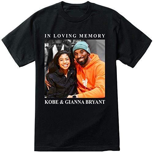 Camiseta para Hombre Y Mujer, Camiseta De La Versión Conmemorativa con Estampado De Kobe Y Gianna Bryant, Algodón Juvenil De Verano, Manga Corta Informal,Negro,M