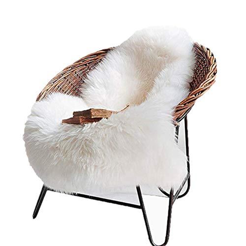 Cleana Arts Alfombra de felpa de piel de oveja Premium de estilo nórdico con piel gruesa súper esponjosa, se adapta perfectamente a la sala de estar / dormitorio o como decoración de sofá. Aprox. 60cm x 90cm (blanco lvory)