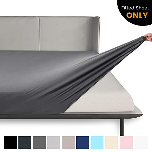 """BROLEX-King-Fitted-Sheet,1 Single Fitted Sheet Only,Ultra Soft Stretchy Jersey Knit,Wrinkle Free & Stay in Place,Fit Mattress Deep from 8"""" Up to 14"""",Grey"""