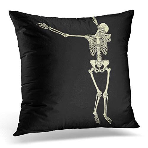 Awowee Funda de cojín de 40 x 40 cm, diseño de esqueleto humano posando Dabbing Dab Realizar Dabbing Dance Move, gesto, decoración del hogar, funda de almohada cuadrada para sofá cama