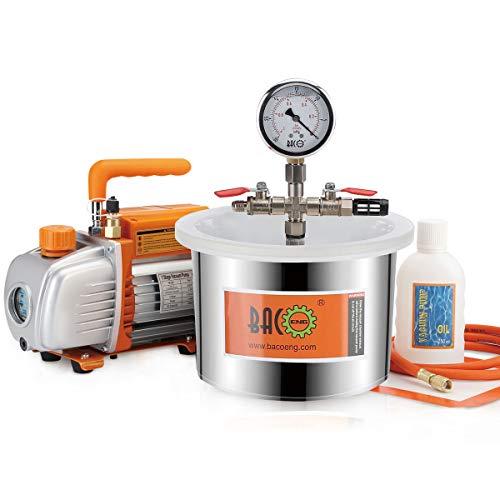 BACOENG Vacuum degassamento Kit 6.8 litri – Pompa per il vuoto monostadio 85 Lt/min