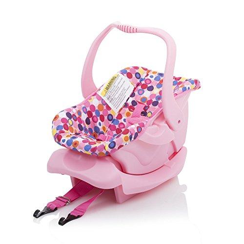 Joovy Toy Car Seat, Doll Accessory, Doll Furniture, Pink Dot ,21.5 x 13 x11.7