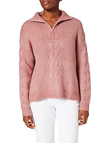Springfield Jersey Cuello Cremallera Trenzas Suéter, Morado/Lila, M para Mujer