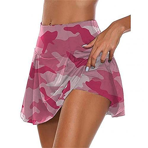 Verano Mujeres Correr Pantalones Cortos Falda Camuflaje Falsa Dos Piezas Transpirable Elástico