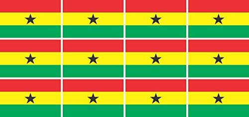 Mini Aufkleber Set - Pack glatt - 50x31mm - Sticker - Fahne - Ghana - Flagge - Banner - Standarte fürs Auto, Büro, zu Hause & die Schule - 12 Stück