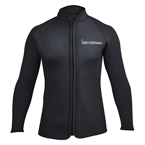 Lemorecn Adult's 3mm Wetsuits Jacket Long Sleeve Neoprene Wetsuits Top (2031black-2XL)