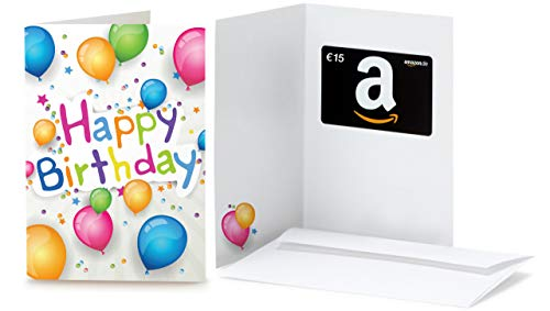 Amazon.de Geschenkkarte in Grußkarte - 15 EUR (Happy Birthday Ballons)