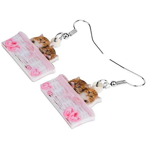 ESIVEL Acryl Valentijnsdag Mand Dubbele Perzische Kat Oorbellen Drop Dangle Dier Sieraden Voor Vrouwen Meisjes Teen Kid Charm Gift
