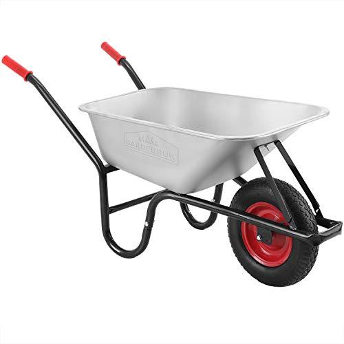 Gardebruk Carriola 100L fino a 250kg ruota pneumatica con cerchio in acciaio vasca zincata giardino cantiere stalla