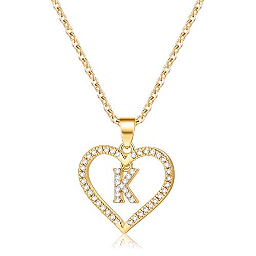 Initials Letter Necklace for Girls Women, 14k Gold Plated K Letter Big Necklaces for Women CZ Pendant Necklace with Initials for Women Teen Girls Kids Jewelry Teenage Mothers Day Valentines Gift