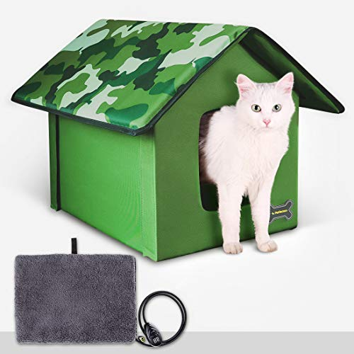 """Outdoor/Indoor Heated Cat House, Petfactors Cat Bed with 7-Level Controller DC Low Voltage Safe Electric Heated Pad, Pet House Cat Beds with Thermostat and Adapter - Camo Color, 22""""L x 18.5""""W x 16.5"""