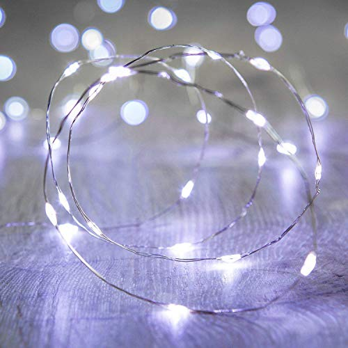 LED String Lights, 30 Micro LEDs on 10Feet/3M Fairy String Lights, Silver Wire Fairy Lights, Battery Operated String Lights for Wedding Party Christmas Table Decorations, Cold White