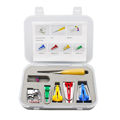 Ulable 16 Stück Fabric Bias Tape Maker Kit-Werkzeug Binder Fuß, Nähahle, 10 Kugelstifte zum Nähen von Quiltmaschinen