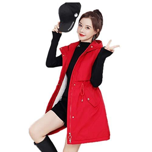 ZANZAN Gilets - Chaleco cálido para mujer con capucha y cierre ligero, chaleco con bolsillos para mujer (color: rojo, talla XXXXXL)