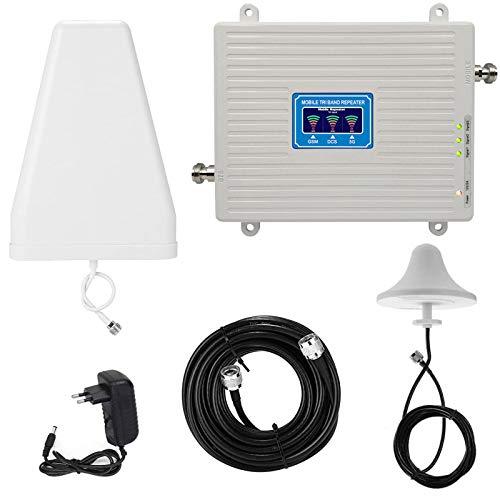 CRGL Ripetitore Segnale Cellulare Tri-Band 900 1800 2100 gsm DCS WCDMA 2G/3G/4G LTE Kit Ripetitore Intelligente Ripetitore Segnale Universale, per Dell'ufficio Domestico