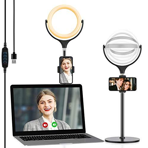Yoozon LED Lumière Anneau Amovible, Ring Light pour Smartphone/Photo/Youtube/Maquillage, Lampe Annulaire Réglable avec 3 Modes d'Eclairage et 10 Niveaux de Luminosité