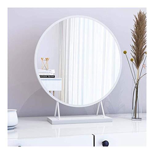 GHJA Espejo de Maquillaje, Espejo de tocador Decorativo Espejo cosmético Dorado de sobremesa con Soporte de Metal (Color: Blanco, Tamaño: 40 cm)