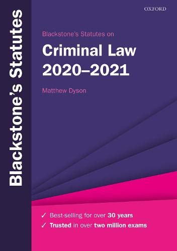 Blackstone's Statutes on Criminal Law 2020-2021 (Blackstone's Statute Series)