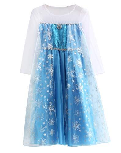 AISHANGYIDE Mädchen Eiskönigin Prinzessin ELSA Pailletten Kleid Kinder Kostüm Weihnachten Verkleidung Karneval Party Halloween Eisprinzessin Outfit Set aus...