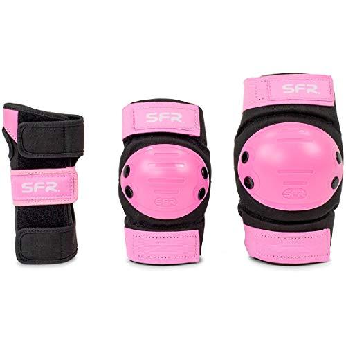 Sfr Skates Youth Ramp Triple Pad Set Kit di Protezione Skateboard Unisex Adulto, Unisex - Adulto, AC600, Multicolore (Black/Pink), L