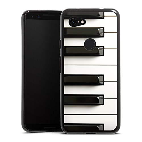 DeinDesign Silikon Hülle kompatibel mit Google Pixel 3a Case schwarz Handyhülle Klavier Musik Piano