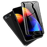 iphone8plus ガラスフィルム 全面 iphone 8プラス ガラスフィルム (2枚セット/5.5インチ/ブラック) アイフォン8プラス 強化ガラス フィルム iphone8plus/7plus フィルム 旭硝子/貼り付け簡単/気泡ゼロ/割れない