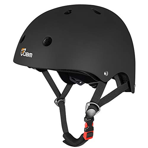 JBM international EPS foam Impact resistance & Ventilation Skateboard Helmet for Multi-sports, Small - Black