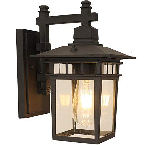 Rétro Imperméable À L'eau IP44 En Plein Air Applique Mur Noir Lanterne En Fonte D'aluminium Verre E27 Extérieure Lampe De Jardin Lumière Éclairage D'éclairage Mur Éclairage 23 * 18 * 31 Cm