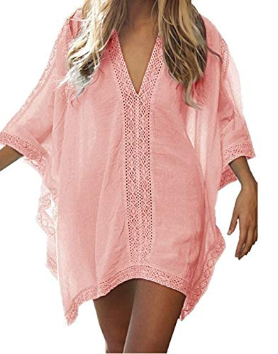 DNFC damska sukienka plażowa, tunika plażowa, krótka, letnia sukienka plażowa, dekolt w serek, luźna sukienka plażowa, piękna koronka, na urlop