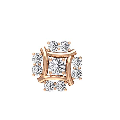 Floral Stud Earring, SGL Certified 0.22 Ct Diamond Cluster Earring, Bridal Cartilage Earring, Helix Conch Piercing Studs, Body Jewellery, 18K Rose Gold Push Back 7mm