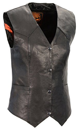 Milwaukee Leather Women's Classic Four Snap Vest (Black, Small)