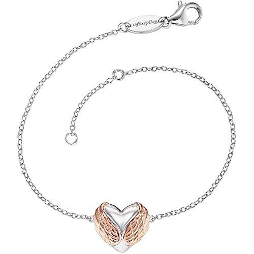 Engelsrufer With Love Geflügeltes Herz Armband für Damen Bicolor Rhodiniertes und Rosévergoldetes 925er-Sterlingsilber Länge 16 cm + 2 cm