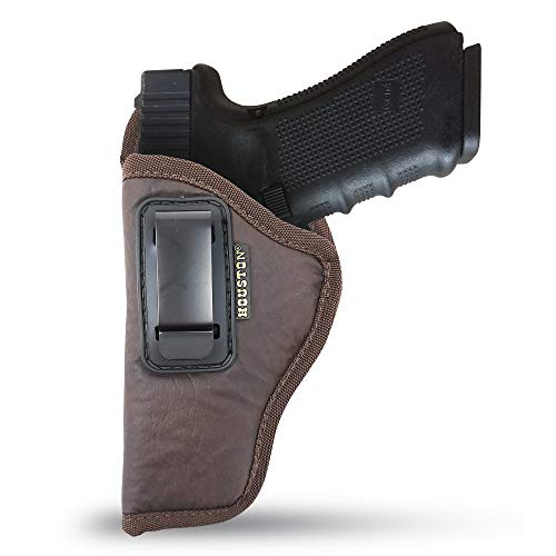 "IWB Gun Holster by Houston - ECO Leather Concealed Carry Soft Material | Fits Sig P250 Sub Comp, P320 Sub Comp, 224 | FNS 9C | XD Mod. 2-3"" 40 & 45 