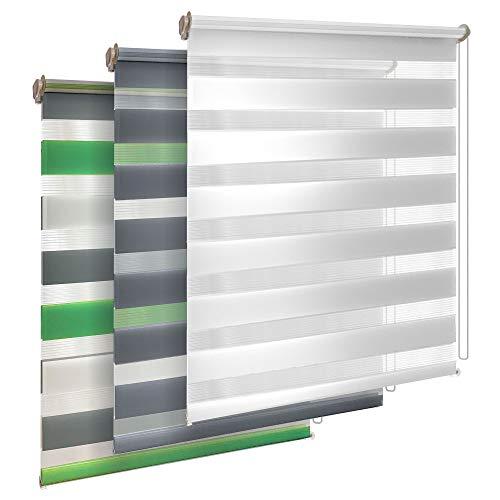 TEKONA Doppelrollo Klemmfix ohne Bohren Duo-Rollo Rollo Blickdicht lichtdurchlässig Fensterrollos Seitenzugrollo Sonnenschutz Fenster und Tür - Grün Grau Weiß, 100 x 150 cm (B x L) - Stoffbreite 96cm