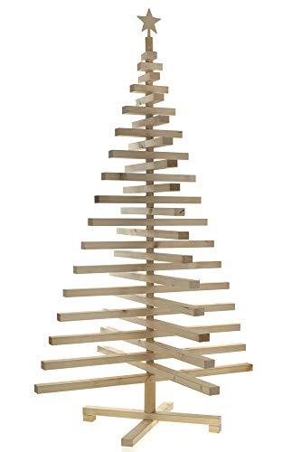 Papà Noel Albero di Natale in Legno Naturale Moderno Stilizzato MODELLABILE (115)