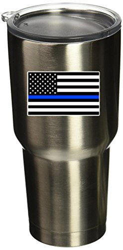 BOLDERGRAPHX 5089 Thin Blue Line Flag SM 4PK 1.5'x2.5' Vinyl Sticker Decal for Yeti Mug Cup RTIC Sic Cup Thermos Cup or Laptop Cell Phone wrap or Hardhat