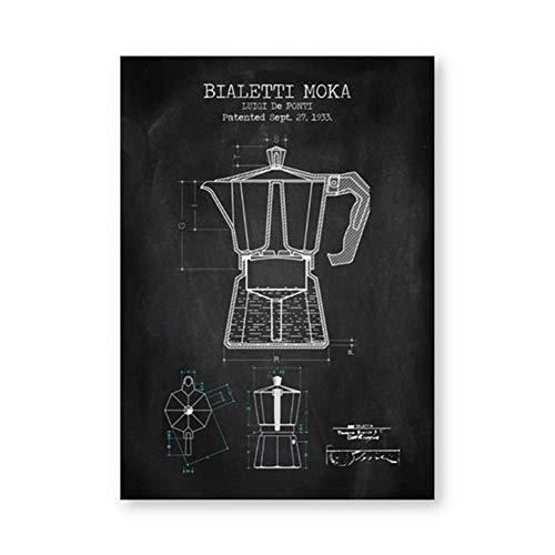 Kaffeekanne Patent Poster und Drucke Bialetti Moka Poster Kaffee Blaupause Kunst Bild Leinwand Malerei Küche Wandkunst Dekor-50x70cm Kein Rahmen