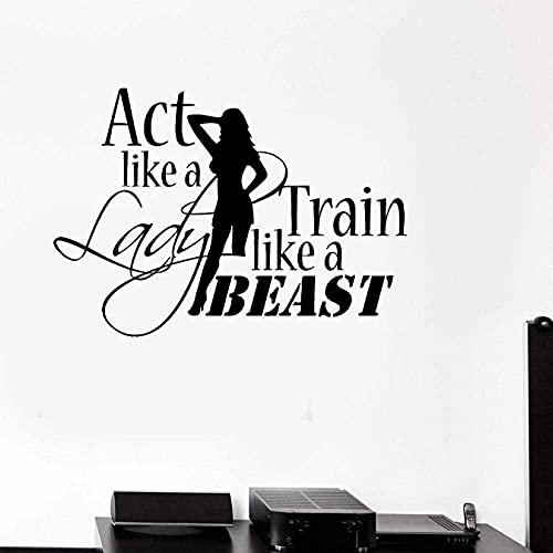 GVSPMOND Vinyl Wall Decal Motivation Bodybuilding Gym Women Fitness Wall Sticker Spring Word Decal Living Room 42X59Cm