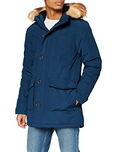 Superdry Mens Everest Parka, Ocean Blue, XL