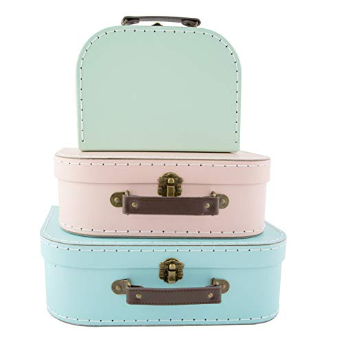 (Pastel Retro) - Set of 3 Suitcase Storage Boxes School Home Decor Sass and Belle Various Designs