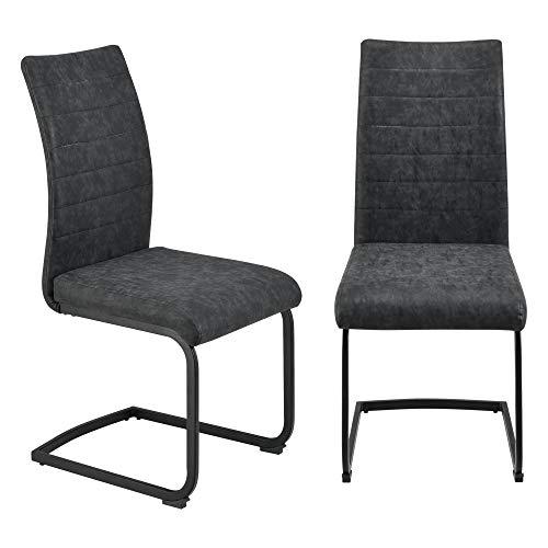 [en.casa] Set di 2 Sedie Cantilever 2 Sedie Oscillanti per Sala/Studio 2 Sedie a Sbalzo con Seduta Imbottita Rivestimento in Similpelle - Nero