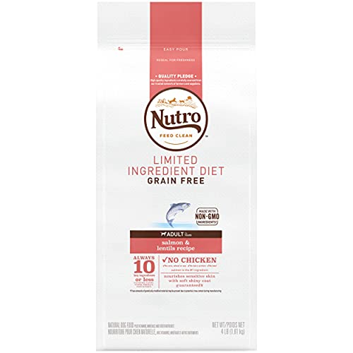 NUTRO Limited Ingredient Diet Adult Dry Dog Food Salmon & Lentils Dog Kibble, 4 lb. Bag